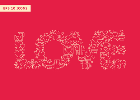 Love poster template with four big letters consisting of beautiful images hand drawing doodles elements on the red background vector illustration