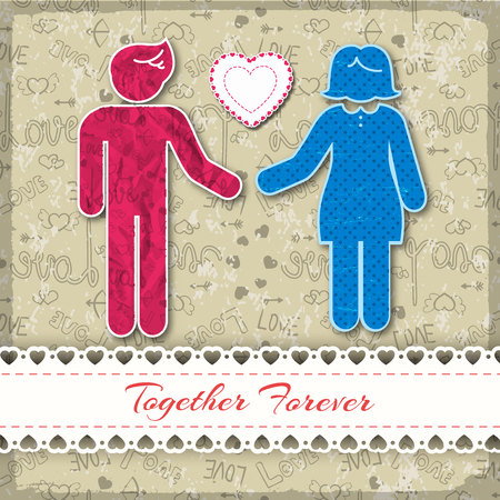 Couple of people in love composition with together forever description on white ribbon vector illustration 向量圖像