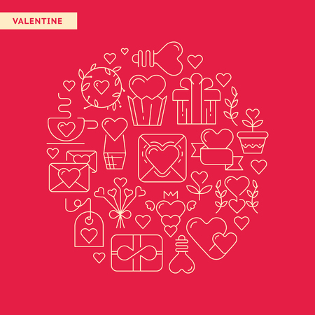 Happy valentines day typography design postcard with different kind of gifts and toys hand drawn vector illustration