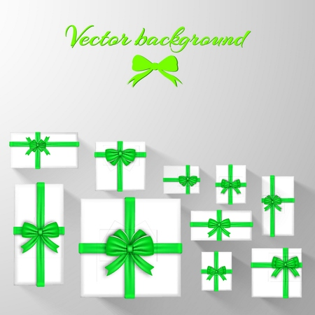 Holiday greeting template with white gift cards and green silky satin ribbon bows vector illustration