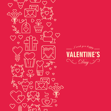 Red and white colored valentines day postcard with many objects and text with wishes be happy an amorous on red background vector illustration