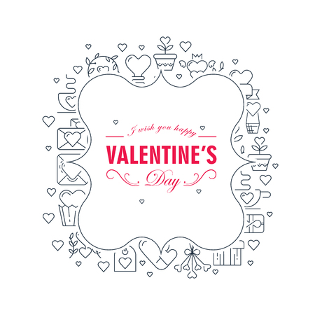 Original two colored figured frame sketch composition card with many symbol objects around the text about Valentines Day decorated on the white background vector illustration Illusztráció