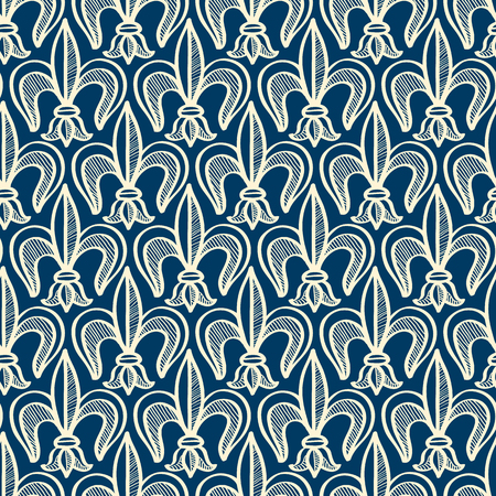 Monochrome abstract seamless pattern with repeating objects in minimalistic style on blue background vector illustration