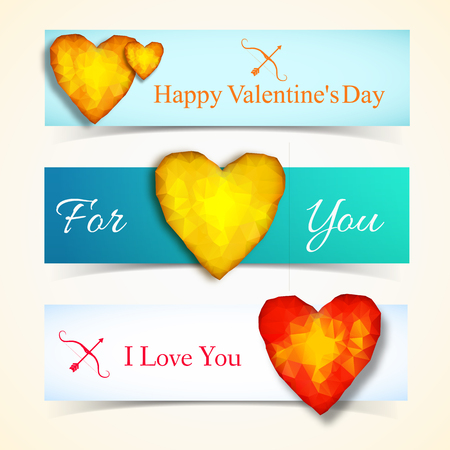 Three horizontal valentines day banner set with amber hearts and tags for you and i love you vector illustration