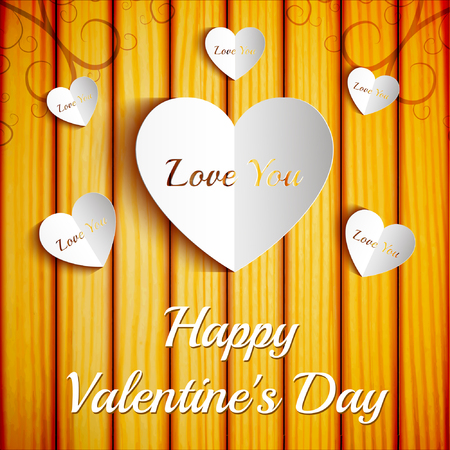 Amorous beautiful template with greeting inscription and paper white cut hearts on wooden background vector illustration