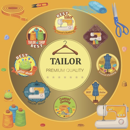 Flat tailor tools round concept with colorful tailoring emblems sewing machine scissors fabric buttons hanger thimble thread clipper and bobbins vector illustration Standard-Bild - 116810729