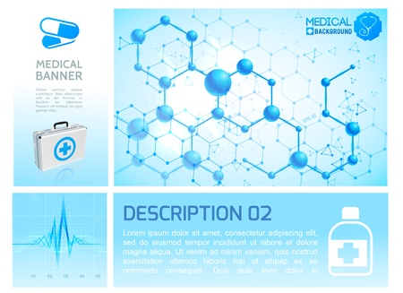 Healthcare infographic blue concept with realistic medical box heart rhythm and molecular structure vector illustration Illustration