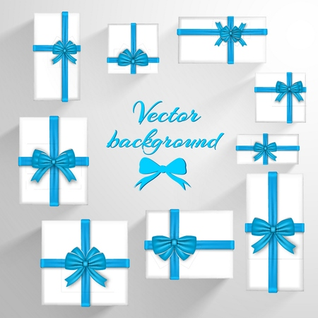 Festive greeting template with white invitation cards and blue silky satin ribbon bows vector illustration