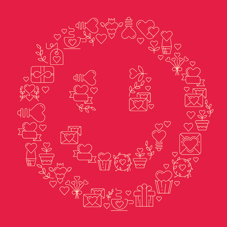 Smile love poster template in the gigantic heart with many beautiful images symbolizing valentines day hand drawing doodles elements on the red background vector illustration
