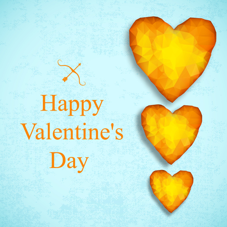 Three amber heart in different shape composition and headline happy valentines day vector illustration Banque d'images - 116810734