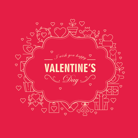 Original two colored figured frame postcard with many symbol objects around the text about Valentines Day on the red background vector illustration Illusztráció