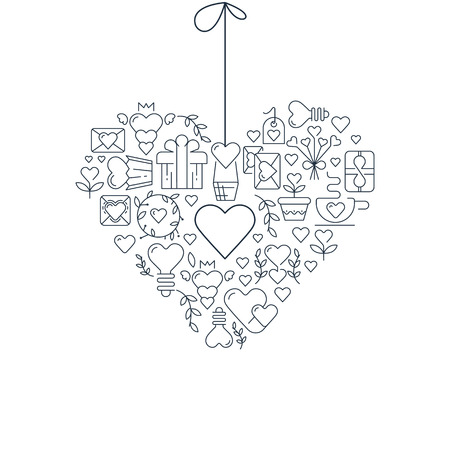 Garland heart template sketch poster with many beautiful objects symbolizing valentines day hand drawn vector illustration