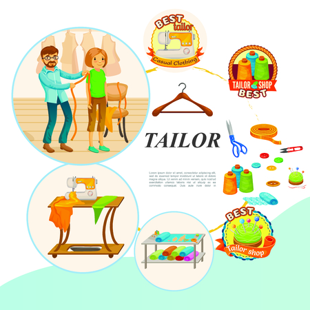 Flat tailor tools concept with master takes measurement hanger sewing machine scissors spools of thread buttons needles fabric vector illustration