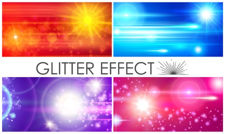 Realistic glitter light effects composition with colorful sparkles lens flares and sunlight effects vector illustration Иллюстрация