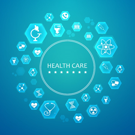 Light health care round concept with white medical icons in hexagons on blue background vector illustration