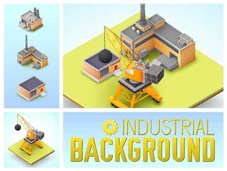 Isometric industrial area colorful composition with construction crane factory and warehouse buildings isolated vector illustration Archivio Fotografico - 116810839