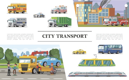Flat city transport concept with fire truck near burning buildings ambulance police taxi automobiles tram bus passenger train road assistance service vector illustration Illustration