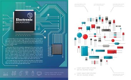 Concetto di componenti elettronici piatti con circuito elettrico microchip diodi condensatori e illustrazione vettoriale di transistor Vettoriali