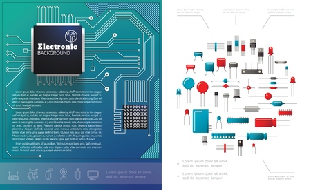 Flat electronic components concept with electric circuit board microchips diodes capacitors and transistors vector illustration