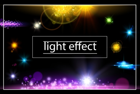 Realistic light effects concept with bright illuminated and sparkling flares lens stars spots vector illustration