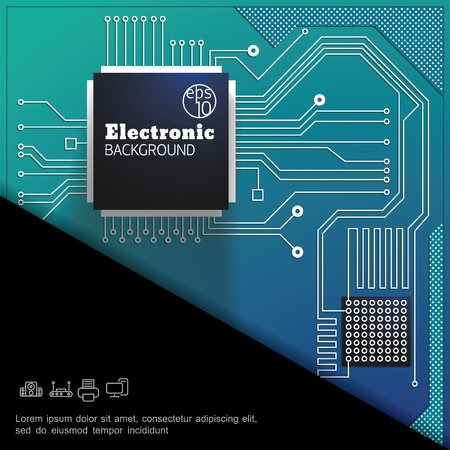 Modern electronic colorful digital template with green high tech circuit board vector illustration