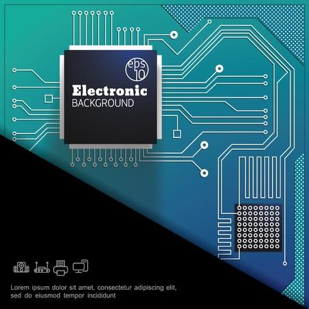 Plantilla digital colorida electrónica moderna con ilustración de vector de placa de circuito verde de alta tecnología