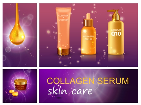 Realistic cosmetic products composition with collagen serum drop bottles of cream moisturizer and liquid soap on purple sparkling background vector illustration