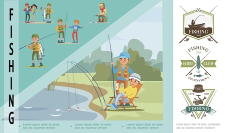 Flat fishing hobby concept with fishers catch fish in lake and fishermen in different situations vector illustration Stock Vector - 116810857