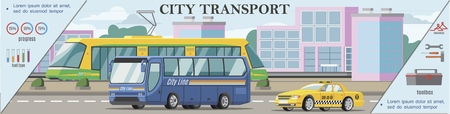 Flat urban transport colorful concept with tram bus and taxi car moving on road vector illustration Illustration