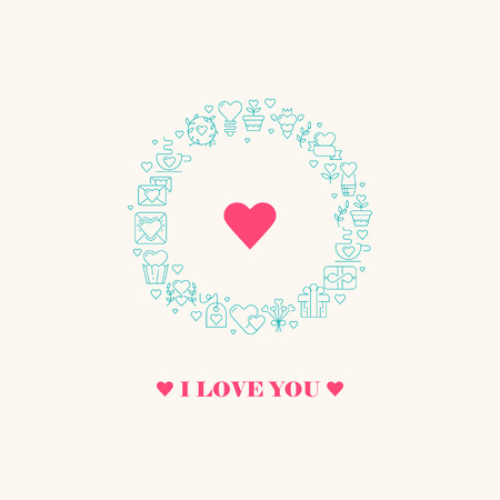 Declaration of love poster with three words, big heart in the centre of the round frame consisting of beautiful images blue colored on the white background vector illustration Illustration