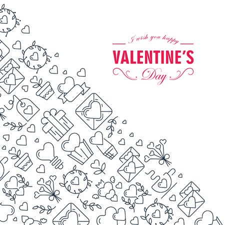 Monotone creative valentines day frame sketch composition with beautiful symbols of the white background hand drawn vector illustration