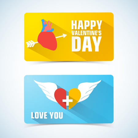 Two horizontal valentines banner set with pierced heart on one and two half of heart descriptions vector illustration Vektorové ilustrace