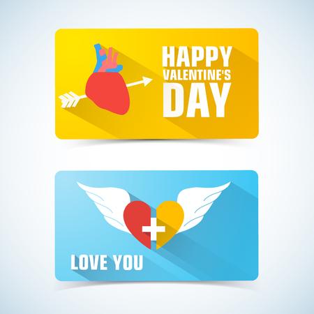 Zwei horizontale Valentinsgrüße-Banner mit durchbohrtem Herzen auf ein und zwei Hälften der Herzbeschreibungsvektorillustration Vektorgrafik