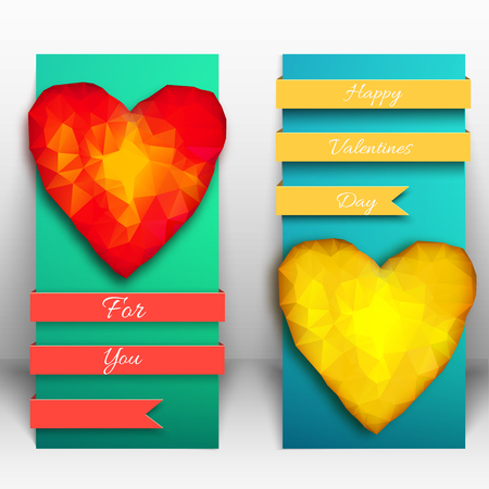 Two vertical valentine banner set with two big amber or polygonal hearts and yellow and red ribbons vector illustration