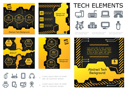 Abstract tech colorful infographic concept with text geometric shapes textures and electronic appliances icons vector illustration