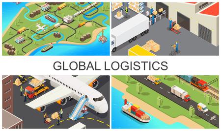 Isometrische globale Transportzusammensetzung mit weltweiten Logistiknetzwerkfahrzeugen Lagerarbeiter Flugzeug- und LKW-Ladeprozess-Vektorillustration