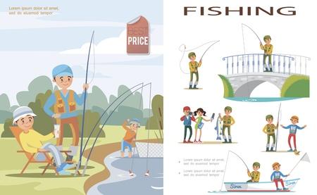 Flache Angelschablone mit Leuten, die Fische im See mit Angelrute und Fischnetz und Fischern in verschiedenen Situationen fangen Vektorillustration