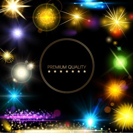 Realistic digital light elements concept with bright colorful stars flares glittering and sparkling effects vector illustration