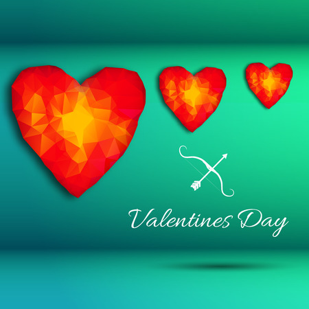 Three hearts composition with gradient hearts in different sizes on green background vector illustration Illustration