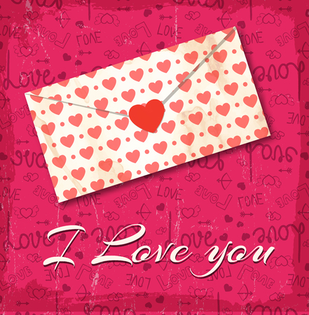 Love letter with little hearts background and I love you description on pink fond vector illustration