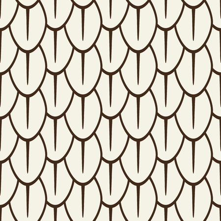 Monochrome seamless pattern in linear design with abstract geometric petals grid flat vector illustration Illustration