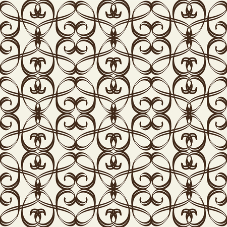 Monochrome seamless pattern in arabesque style formed by stripe twisted ribbons on white background flat vector illustration