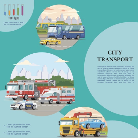 Flat public city transport concept with bus taxi police ambulance cars tram fire and tow trucks Ilustração