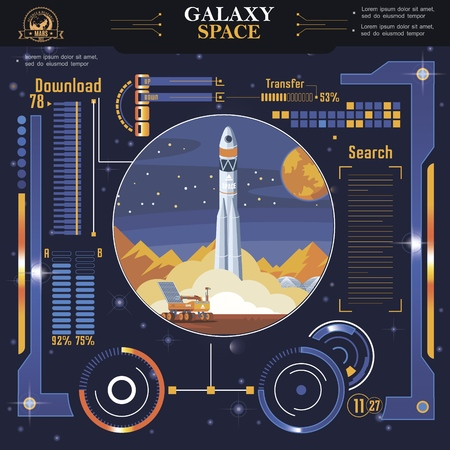 Flat futuristic space interface template with indicators and options of rocket launch vector illustration Illustration
