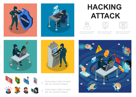 Isometric hacker activity infographic template with computer servers atm hacking cyber thief online money steal biometric authorization security vector illustration Illustration