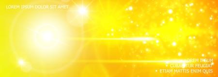 Fond de paillettes et d'effets de lumière réalistes avec des effets de flash de lumière du soleil éclatant dans les couleurs jaunes illustration vectorielle Vecteurs