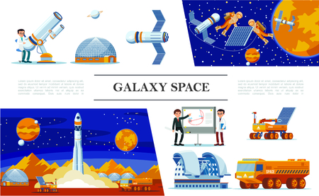 Flat space and galaxy concept with scientists planetarium telescope astronauts fix satellite rocket Illustration