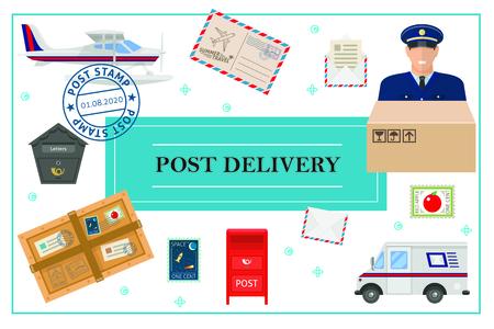 Flaches Postzustellungskonzept mit Postboten-LKW-Wasserflugzeug-Briefkastenumschlagbrief-Paketmarken