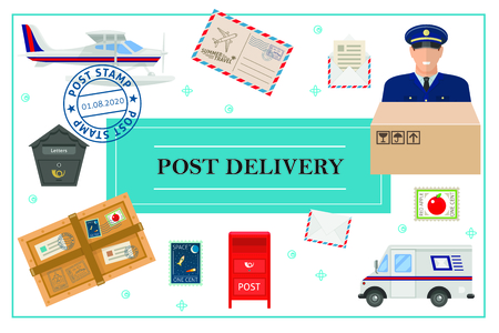 Flat post delivery concept with postman truck float plane postbox envelope letter parcel stamps