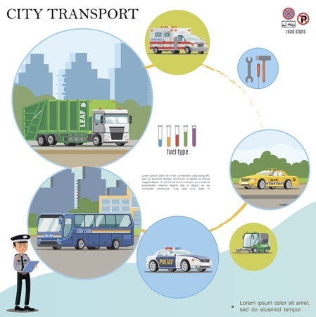 Flat city transport colorful concept with garbage truck ambulance police taxi cars sweeper bus police officer mechanic tools
